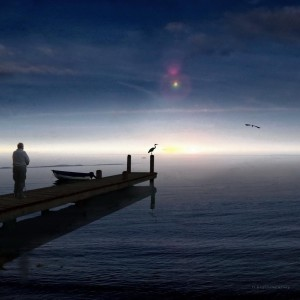 "<img src=""image.gif"" alt=""a man standing on a pier"" />"