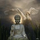 "<img src=""image.gif"" alt=""Image of a Budda and a swan"" />"
