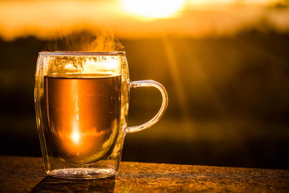 cup of tea in the sunset
